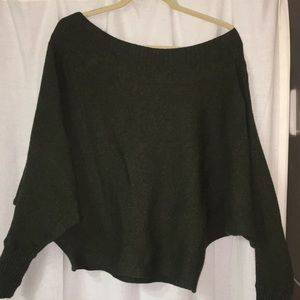 Umgee slouchy green off-the-shoulder top